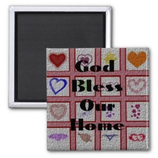 God Bless Our Home Quilt Fridge Magnet