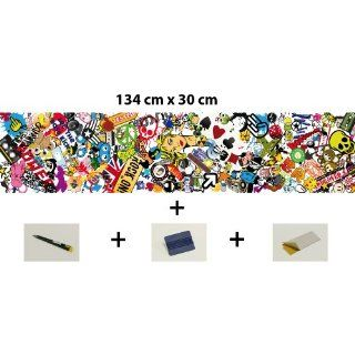 Sticker Bomb Car Wrapping Folie 134cm x 30cm inkl. Verlegeset: