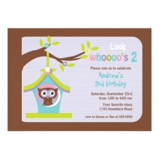 Brown Owl in Bird House Childs Birthday Card