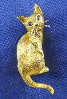 Siamkatze 750er Gold Saphir Augen Brosche Katze Nadel Gelbgold 750