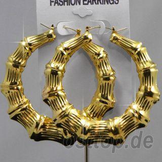 Trend Bamboo Hoops Creolen Earring Ohrringe 80mm 33627