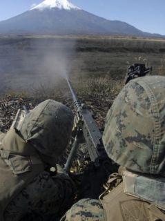 Marines Fire an M2 50 Caliber Machine Gun Photographic Print