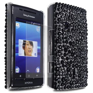 For Sony Ericsson Xperia X8 Black Glitter Bling Hard Case Cover+Film