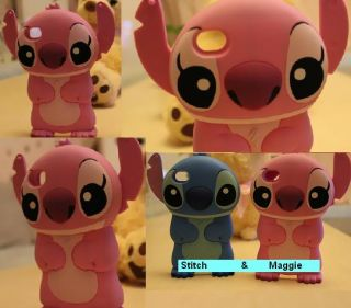 iPhone 4 4S 4G New Cute Disney PINK Stitch Maggie 3D hard case cover
