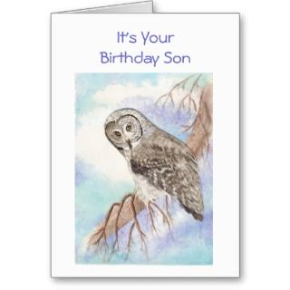 Happy Birthday Son, Great Gray Owl, Bird Greeting Cards