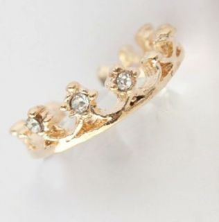 New White Rhinestone Elegant Crown Finger Ring Sweet Gift JR229 Gold