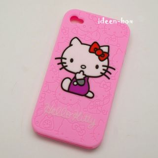 Silikon Hülle Case Schale iphone 4 Hello Kitty Rosa
