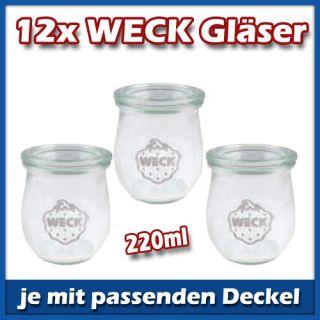 12er Set WECK Mini Tulpe 220ml Gläser mit Deckel Glas Einmachgläser