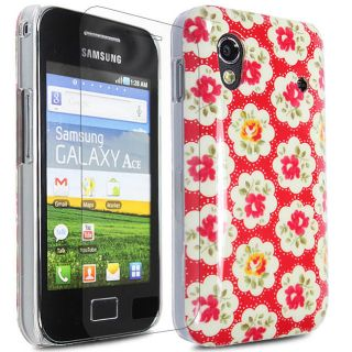 RED FLOWER HARD SHELL CASE COVER FOR SAMSUNG GALAXY ACE S5830 + SCREEN