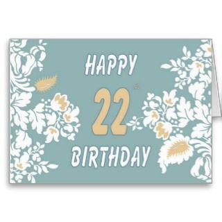 22nd birthday greeting card