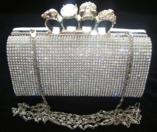 Shimmering Silver Knuckle Diamante Evening bag Clutch Purse Party