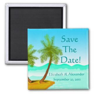 Beach  Palm Trees  Ocean Personalize It Refrigerator Magnets
