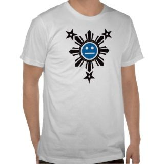 Filipino Sun and Stars Face   Black and Blue Tee Shirt