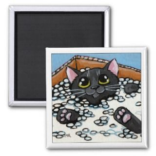Black Cat in a Box of Packing Peanuts  Cat Magnet