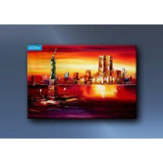 Gemälde Modern Art Manhattan Freiheitsstatue Im Abendrot Ölgemälde