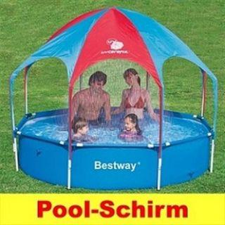 Bestway Kinder Splash Pool Steel Frame Pool mit Sonnenschirm UV