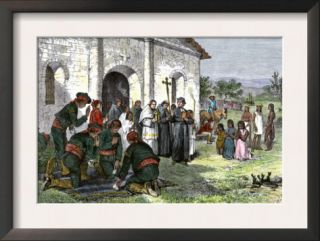 California Mission with Padres, Spanish Soldiers, and Native Americans Poster