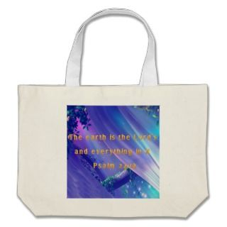 Christian Tote Bag with Bible Verse Psalm 241