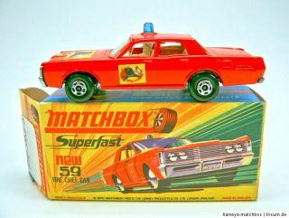 Matchbox Superfast Nr.59B Mercury Fire Chief Car top Box