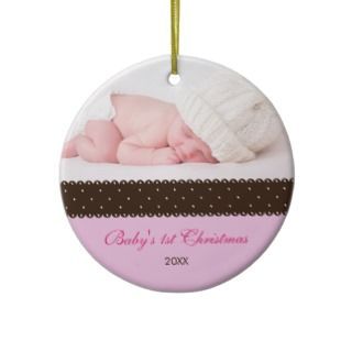 Babys 1st Christmas   Ribbon (pink) Christmas Tree Ornaments