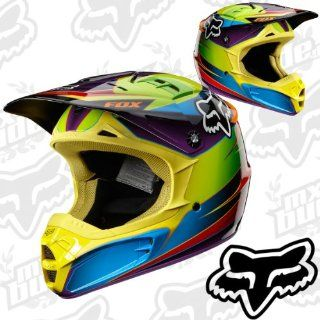 Fox V2 Motocross Helm Race   Green/Blue L Motorrad