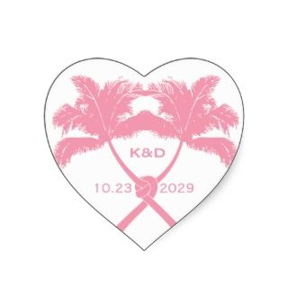 Knot Palm Trees Beach Tropical Wedding Modern Chic Heart Stickers