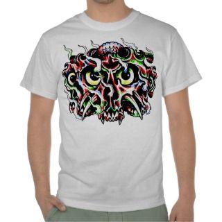 Flaming Demon Skull Tattoo Tshirt