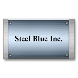 Steel Blue Metal Frame Business Cards