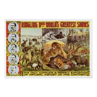 Ringling Bros. Wild Animal Advertisement 1900s Posters