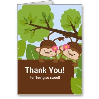 Safari Monkey Twins Baby Shower Thank You Card