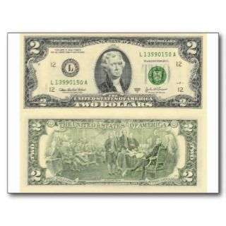 Two Dollar Bill Federal Reserve Note Back & Front Post Card