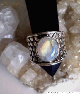 ausgefallener Ring mit einem Regenbogen Mondstein, Handarbeit, 925er