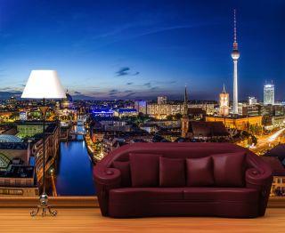 Fototapete Berlin Skyline Nacht Nr.290 Größe: 420x270cm Fernsehturm