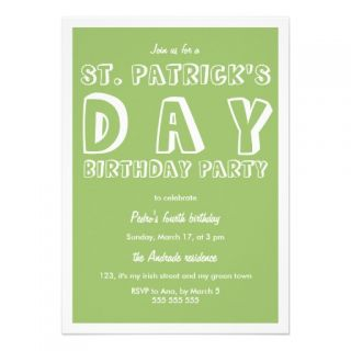St Patricks Day Birthday Party 40th Retro Green Invites