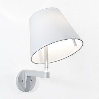 Melampo Parete Wandleuchte Stab aluminiumgrau/Schirm hellgrau/ohne