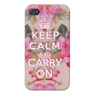 Girly keep calmVintage pink elegant floral roses iPhone 4/4S Covers