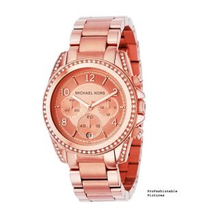 NEW 2012 MICHAEL KORS ROSE GOLD CHRONOGRAPH CRYSTAL RUNWAY WOMENS