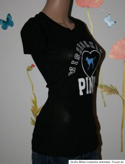 Trendy Victorias Secret Pink T Shirt *Wishes&Kisses* Schwarz Gr.S