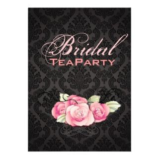 Damask Pink Floral Bridal Shower Tea Party Personalized Invite