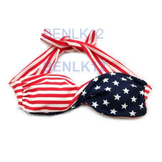 SB11 Sexy Padded Swimsuit Swimwear USA Flag Twisted Bikini, +UK First