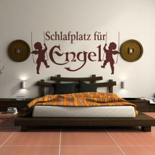 WT116 Wandtattoo Schlafplatz für Engel Tattoo Schlafzimmer Motiv