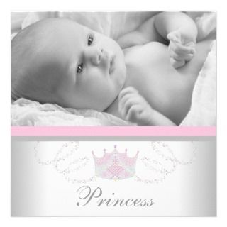 Tiara Pink Gray Princess Baby Shower Invitations