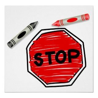 Simple childlike drawing of a stop sign drawn with a childs red and