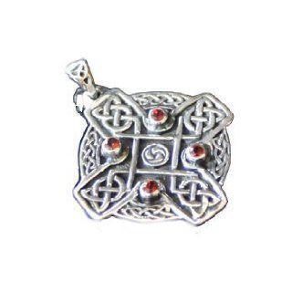 Anhänger Celtic Symbol mit Granat 25 mm Keltischer Schmuck Silber