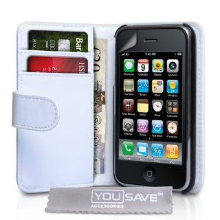 Apple iPhone 3 / 3G / 3GS Tasche Weiß Ledertasche Brieftasche Hülle