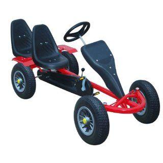 RIESEN PREMIUM GoKart Go Kart GoCart Tretauto Zweisitzer (Farbe Rot