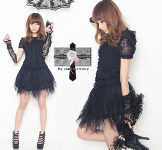 Gothic Lolita Retro Floral Puffy EGL Laced GLOVES Top