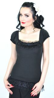 KO292   Küstenluder RUFFLE Puff Sleeve SHIRT PIN UP Rockabilly Gothic