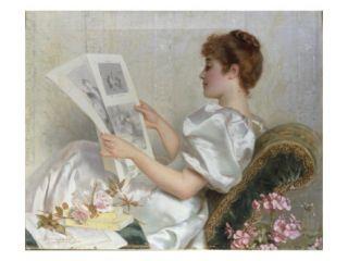 Lady ing at Drawings, 1894 Giclee Print by Adolfo Belimbau