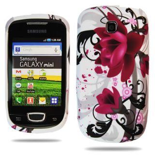 FOR SAMSUNG GALAXY MINI S5570 PURPLE FLOWER SILICONE GEL SKIN CASE